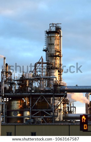 A petrochemical plant at dusk #1063167587
