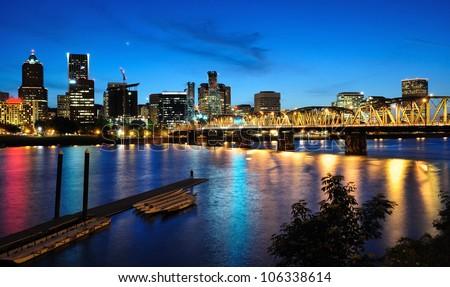 Night view of portland
