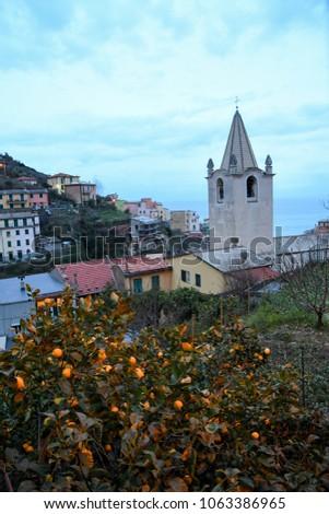 Townscape of Riomaggiore in the evening - Cinque Terre (5 Terre), Five village on the Italian Riviera, Liguria, Italy #1063386965