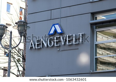Berlin, Germany - March 19, 2018: AENGEVELT Immobilien signage. Founded in 1910, the German company has a long tradition as Property Service Provider #1063432601