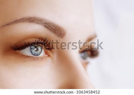 Eyelash Extension Procedure. Woman Eye with Long Eyelashes. Close up, selective focus. #1063458452