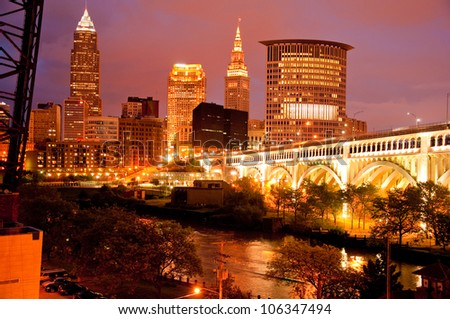 A view of the Cleveland skyline at night