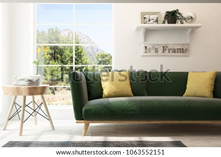 Idea of white room with sofa and summer landscape in window. Scandinavian interior design. 3D illustration #1063552151