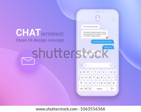 Chat Interface Application with Dialogue window. Clean Mobile UI Design Concept. Sms Messenger. Flat Web Icons. Vector EPS 10 #1063556366