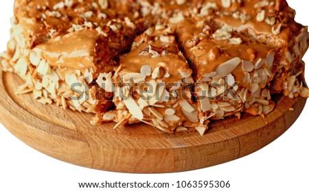 cake, brown cake, chocolate, nuts, nougat #1063595306