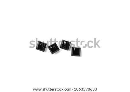 Keys of keyboard with text game Isolated on white background Isolate Black buttons of keyboard key Letter keys of computer PC  Input information to the internet and transformation to the binary code #1063598633