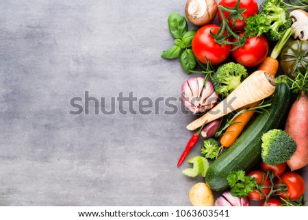 Fresh bio vegetables on the gray stone background. #1063603541