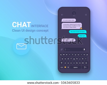 Chat Interface Application with Dialogue window. Clean Mobile UI Design Concept. Sms Messenger. Flat Web Icons. Vector EPS 10 #1063605833