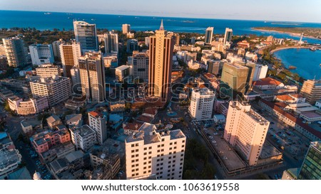 aerial view of the haven of peace, city of Dar es Salaam Royalty-Free Stock Photo #1063619558