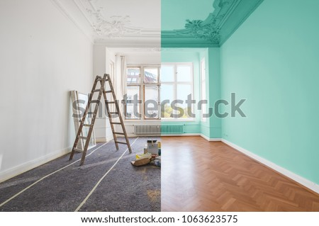 renovation concept - room before and after renovation #1063623575
