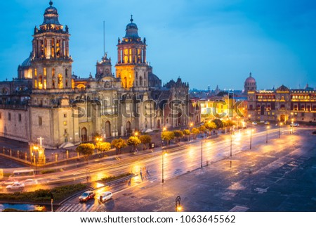Metropolitan Cathedral and President's Palace in Zocalo, Center of Mexico City Mexico Sunrise night. #1063645562