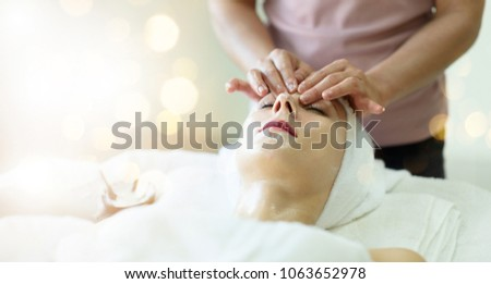 Close up face women in spa, Facial treatment. women luxury room  relax and enjoyment emotional beauty therapy. Young women in beauty salon on bokeh background. #1063652978