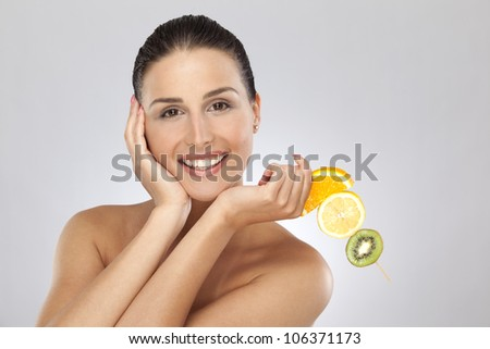 Woman with citrus fruits #106371173