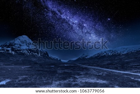 Highlands at night with milky way, Scotland #1063779056