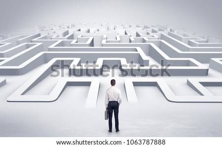 Businessman getting ready to enter a 3D flat labyrinth concept #1063787888