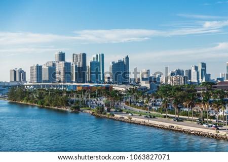 Causeway and Skyline of Miami #1063827071