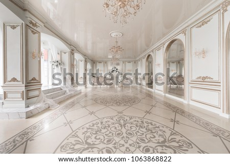 Luxurious vintage interior with fireplace in the aristocratic style. Large Windows and mirrors. Columns and arches, ornament on the glossy floor Royalty-Free Stock Photo #1063868822