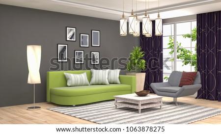 Interior living room. 3d illustration #1063878275