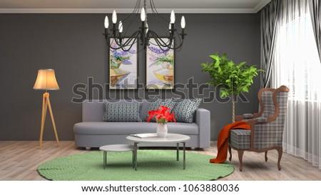 Interior living room. 3d illustration #1063880036