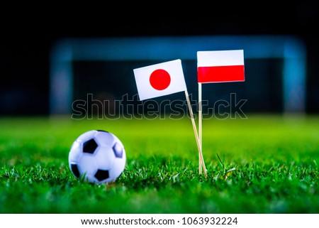 Japan - Poland, Group H, Thursday, 28. June, Football, National Flags on green grass, white football ball on ground. #1063932224