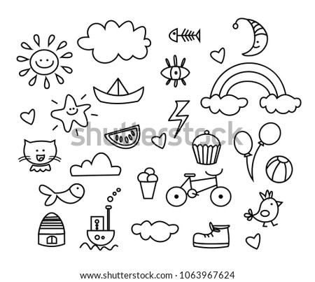 Set of doodle on paper background. black and white outline
