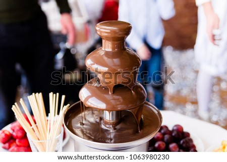 Vibrant Picture of Chocolate Fountain Fontain on childen kids birthday party with a kids playing around and marshmallows and fruits dip dipping into fountain #1063980230