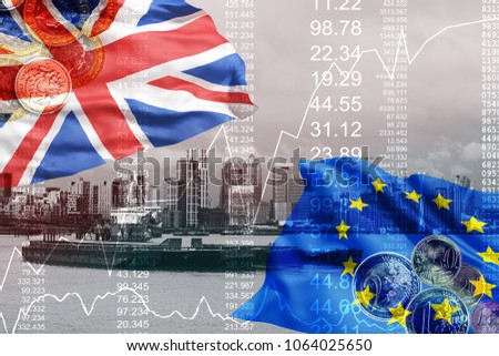 Brexit blue european union flag with great britain flag, united kingdom economy #1064025650