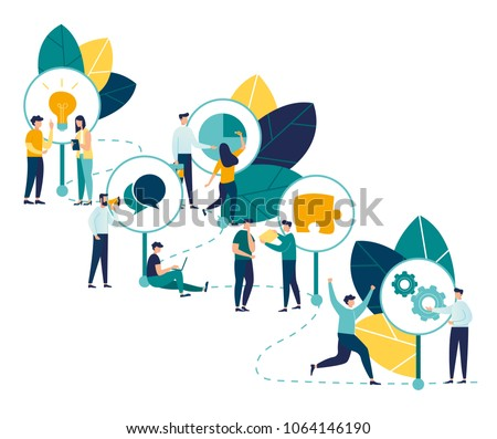 Vector infographic illustration, The main stages of the timeline with pointers on the curved road, small people stand in the company and reason over each item, History of the company development conce #1064146190