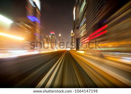 Dubai metro in night #1064147198