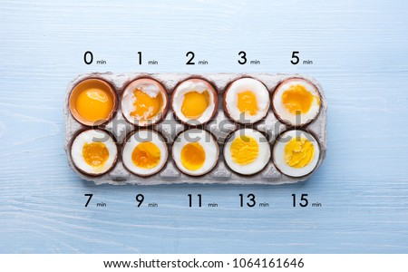 eggs in varying degrees of availability depending on the time of boiling eggs #1064161646