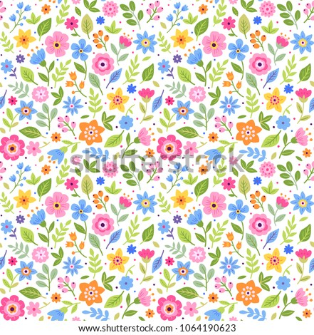 Vector seamless pattern. Pretty pattern in small multicolored flower. Small  flowers. White background. Ditsy floral background. The elegant the template for fashion prints.