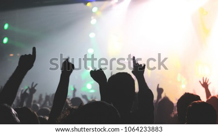 BARCELONA - MAR 17: Crowd in a concert at Razzmatazz stage on March 17, 2016 in Barcelona, Spain. #1064233883