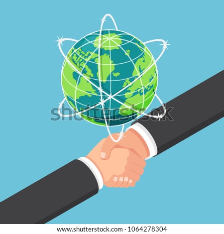 Flat 3d isometric businessman shake hands with partnership under earth globe. International business collaboration and teamwork concept.