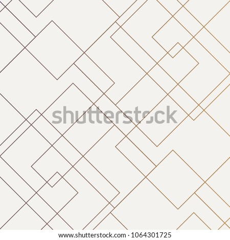 Geometric vector pattern, repeating thin linear square diamond shape and rectangle. Clean design for fabric wallpaper painted. Pattern is on swatches panel  #1064301725