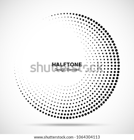 Halftone circle frame abstract dots logo emblem design element for medical, treatment, cosmetic. Round border Icon using halftone circle dots raster texture. Vector illustration.