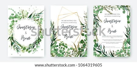 Wedding invitation frame set; flowers, leaves, watercolor, isolated on white. Sketched wreath, floral and herbs garland with green, greenery color. Handdrawn Vector Watercolour style, nature art. #1064319605