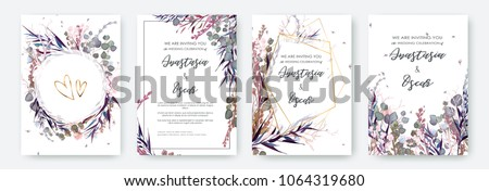 Wedding invitation frame set; flowers, leaves, watercolor, isolated on white. Sketched wreath, floral and herbs garland with green, greenery color. Handdrawn Vector Watercolour style, nature art. Royalty-Free Stock Photo #1064319680