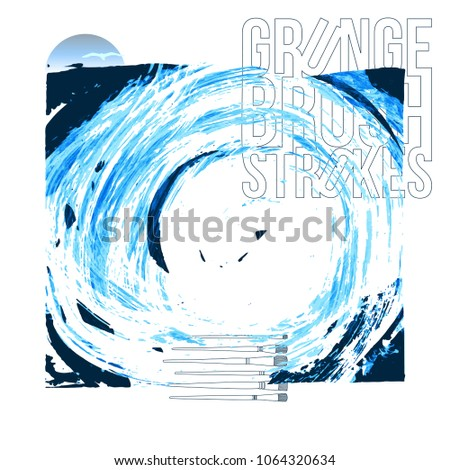 Blue brush stroke and texture. Grunge vector abstract hand - painted element. Underline and border design. #1064320634