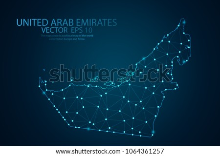 Abstract mash line and point scales on Dark background with map of United Arab Emirates. Wire frame 3D mesh polygonal network line, design polygon sphere, dot and structure. Vector illustration eps 10 #1064361257