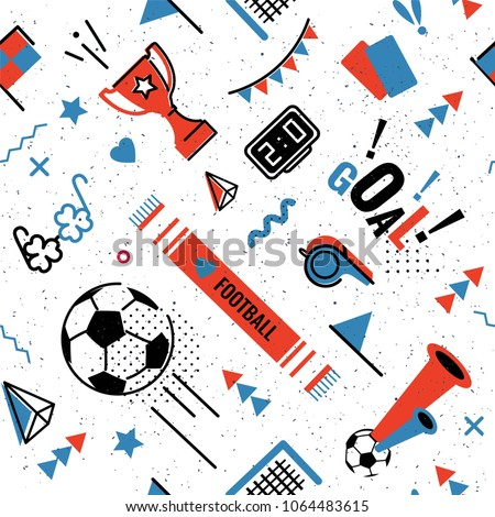Soccer/football abstract background in 80s memphis style. Seamless memphis pattern for posers and cards. Vector illustration