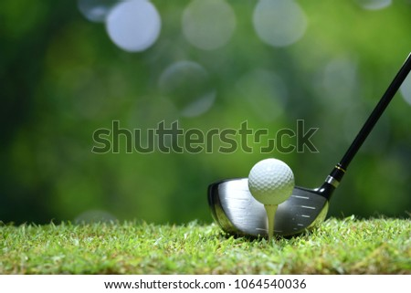 Golf ball on green grass ready to be struck on golf course background #1064540036