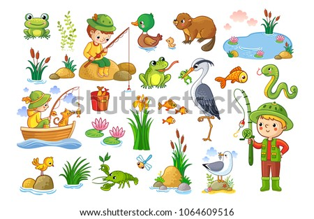 Vector set on a fishing theme. An animal pond. Children are fishing. Collection of vector illustration.