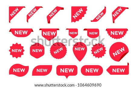 Stickers for New Arrival shop product tags, new labels or sale posters and banners vector sticker icons templates Royalty-Free Stock Photo #1064609690