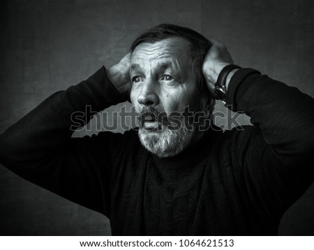 Shocked surprised old bearded man #1064621513