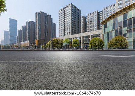 Empty Road with modern business office building   #1064674670