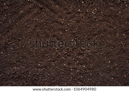 Agricultural soil texture top view, fertile land as background #1064904980
