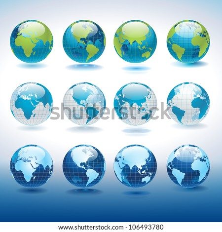 Set of vector globe icons showing earth with all continents