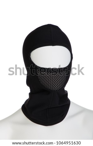 Mannequin in black balaclava for Cycling in cold weather #1064951630