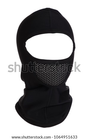 Black balaclava for cycling in cold weather isolated on white background #1064951633