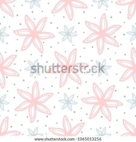 Cute floral seamless pattern. Endless print with outlines of flowers and round dots. Drawn by hand, sketch, doodle. Girly vector illustration. White, gray, pink, blue.